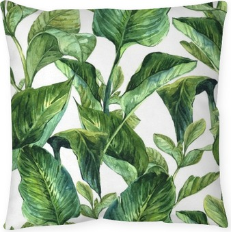 Watercolor with tropical leaves Pillow Cover