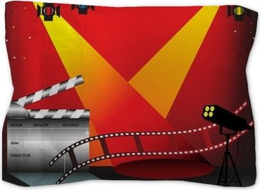 a0ec4cbce939 Colorful stage lights, film strip and clapper board