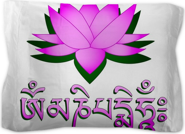 Lotus flower om symbol and mantra om mani padme hum pillow sham lotus flower om symbol and mantra om mani padme hum pillow sham mightylinksfo