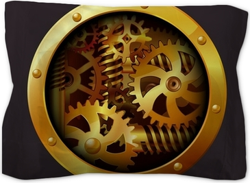 The gears  Through paper hole  Vector