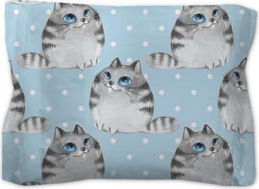 Watercolor cartoon cats, blue seamless pattern Pillow Sham
