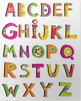 ABC. vektor blomst skrifttype. Plakat