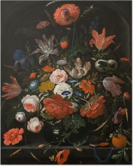 Abraham Mignon - Flowers in a Glass Vase Plakat