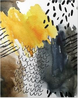Plakat Abstrakt akvarell sømløs mønster i høstfarger.