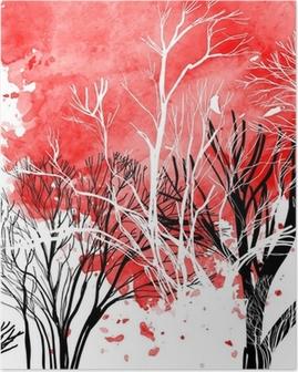 Abstrakt silhuet af træer Plakat