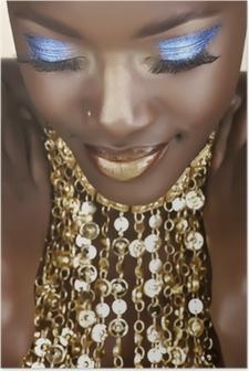 Afrikansk kvinde med guld Plakat