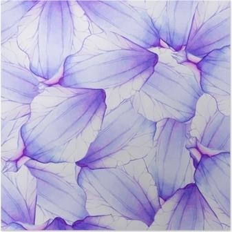 Akvarel sømløs mønster med lilla blomsterblad Plakat