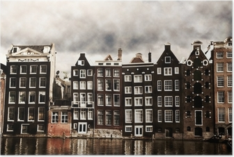 Amsterdam kanalhuse Plakat
