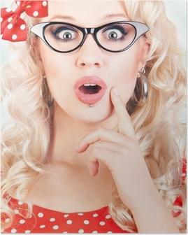 48f40b8251fa Glad overrasket kvinde skrigende med åbne hænder Plakat • Pixers® - Vi  lever for forandringer
