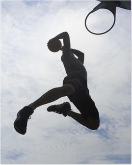 Basketballspiller slam dunk silhuet Plakat