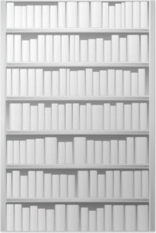 Bogreol med hvide bøger Plakat