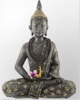 Bouddha avec chapelet de prière et fleur d'orchidée Plakat