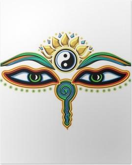 Buddha Augen Yin Yang Plakat
