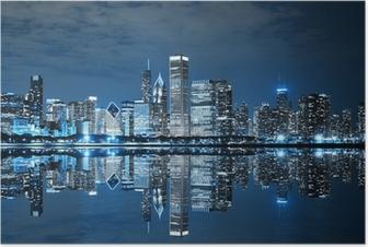 Chicago downtown om natten Plakat