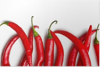 Chili peber på hvid baggrund Plakat