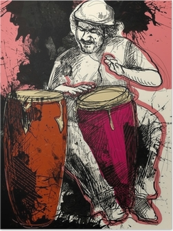 Conga player - en håndtegnet grunge illustration Plakat