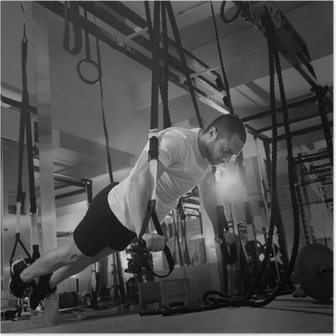 Plakat Crossfit fitness TRX push ups man trening