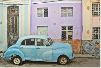 Cuba, La Habana, Broken Down Vintage Car Plakat