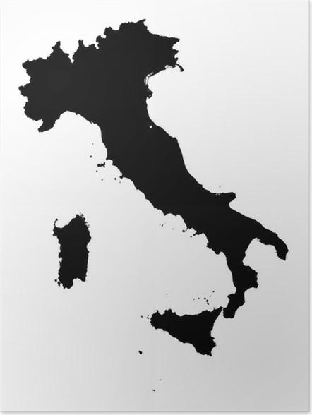 detaljert kart over italia Plakat Detaljert b / w kart over Italia • Pixers®   Vi lever for  detaljert kart over italia