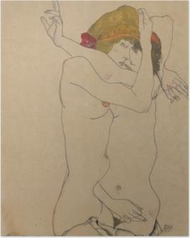 Plakat Egon Schiele - To kvinner omfavner