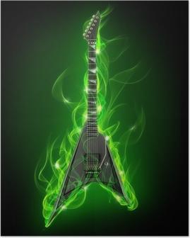 Plakat Elektrisk gitar i grønn brann og flamme