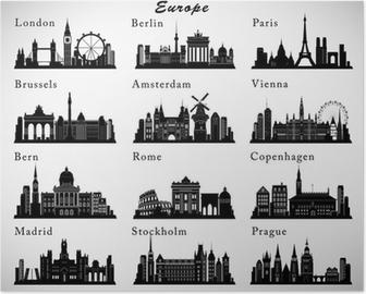 Europæiske byer skylines sæt. Vektor silhuetter Plakat