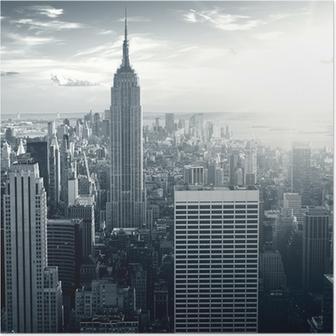 Fantastisk udsigt til New York Manhattan ved solnedgang Plakat