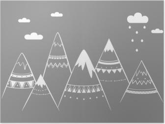Plakat Fjell barn, hånd trukket vektor illustrasjon