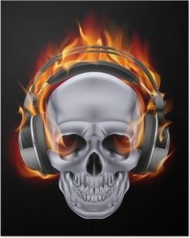 Flammende kraniet i hovedtelefoner. Plakat