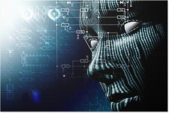 Fondo tecnologico con cara. Codigo binario, concepto de internet Plakat
