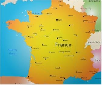 Frankrig Kort Sort Plakat Pixers Vi Lever For Forandringer