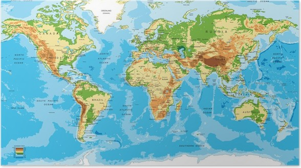 kart over verden Plakat Fysisk kart over verden • Pixers®   Vi lever for forandring kart over verden