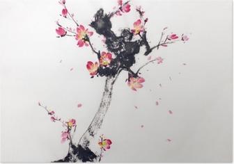 Gren af kirsebærblomster Plakat
