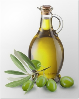 b91751a99 Gren med oliven og en flaske olivenolje isolert på hvit