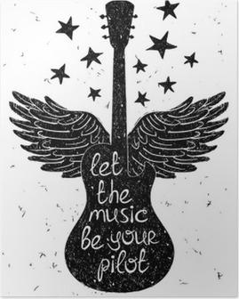 Plakat Hånd trukket musikalsk illustrasjon med silhuetter av gitar.
