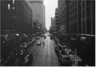 Black and White Chicago Streets Plakat HD