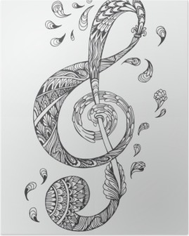 Plakat HD Håndtegnet musikknøkkel med etnisk ornamenter doodle pattern. Vector illustration Henna Zentangle stilisert til Cover bok eller kort, tatovering mer. Design for åndelig avslapping for voksne.