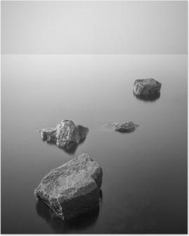 Minimalistisk misty landskab. Sort og hvid. Plakat HD