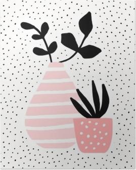 Pink Vase og Pot med Planter Plakat HD