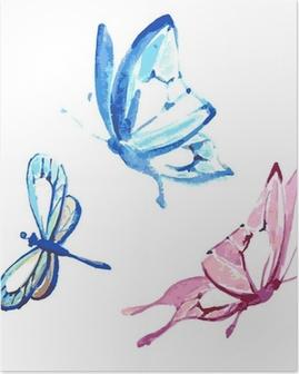 Plakat HD Sommerfugl, akvarell design
