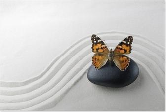 Plakat HD Zen stein med sommerfugl