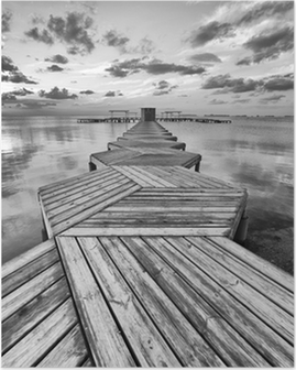 Plakat HD Zig Zag dock i svart og hvitt