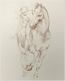 Plakat Hest og Rytter. Basert på tegning av Leonardo da Vinci