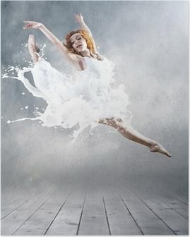 Hop af ballerina med kjole af mælk Plakat