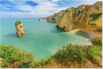 Idyllisk strand landskab ved Lagos, Algarve, (Portugal) Plakat