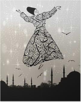 Plakat Kalligrafi dervish og istanbul moskeer
