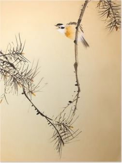 Plakat Kinesisk blekkmaleri fugl og plante
