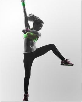 Kvinde udøver fitness zumba dansende silhuet Plakat