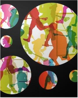 Lacrosse spillere aktive mænd sport silhuetter abstrakt backgrou Plakat