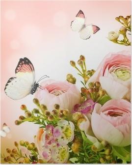 Plakat Lett bukett fra rosa roser og sommerfugl